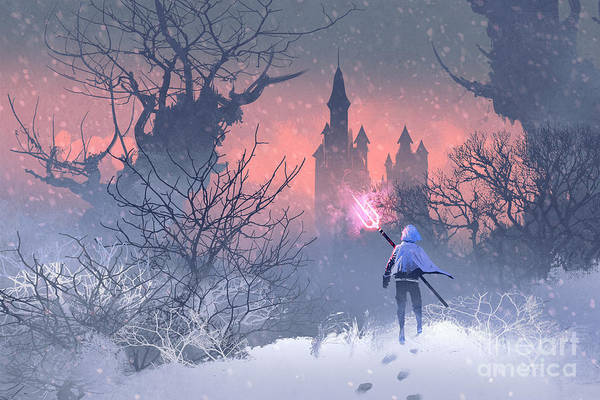 Snow Digital Art - Knight With Trident In Winter by Tithi Luadthong