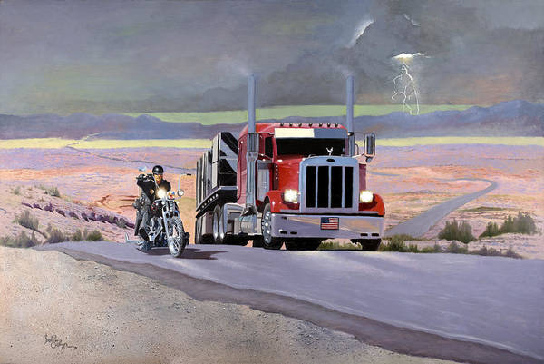 Lightening Painting - Knights Of The Road by Barbara Sullivan