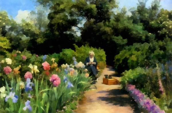 Knitting Digital Art - Knitting In The Garden by Peder Mork Monsted