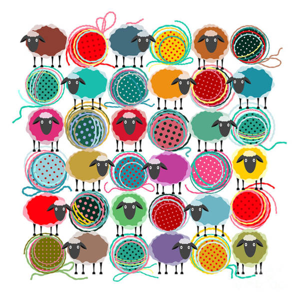 Bright Digital Art - Knitting Yarn Balls And Sheep Abstract by Popmarleo