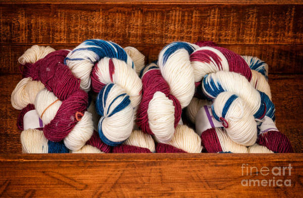 Photograph - Knitting Yarn In Patriotic Colors by Les Palenik