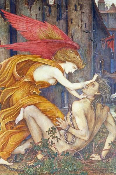 Strangling Painting - Knowledge Strangling Ignorance by John Roddam Spencer Stanhope