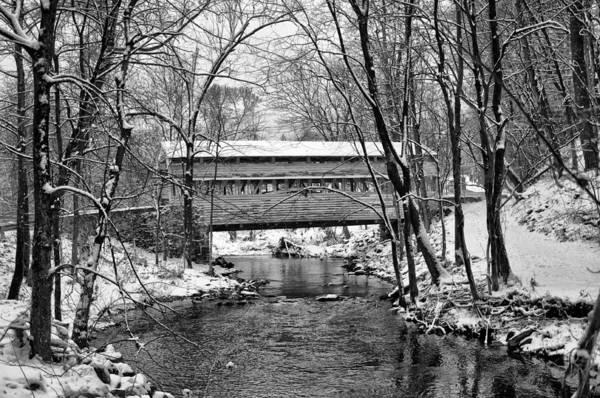 Wall Art - Photograph - Knox Covered Bridge Valley Forge In Black And White by Bill Cannon