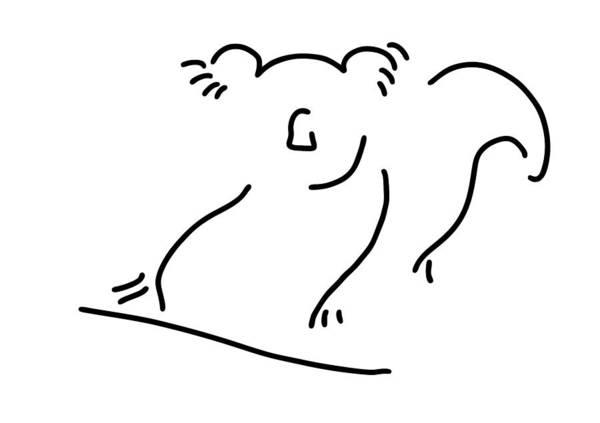 Lineart Drawing - koala bear Asia China by Lineamentum