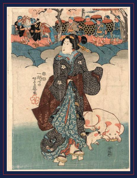 1854 Drawing - Kodomo Gyoretsu To Fujin by Yoshifuji, Utagawa (1828-1887), Japanese