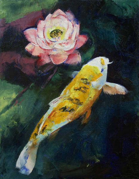 Pink Lotus Wall Art - Painting - Koi And Lotus Flower by Michael Creese
