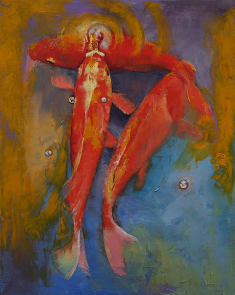Wall Art - Painting - Koi Bubbles by Michael Creese