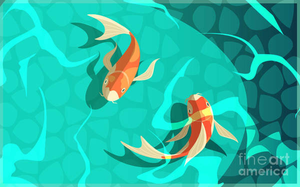 Tradition Wall Art - Digital Art - Koi Carp Japanese  Symbol Of Luck by Macrovector