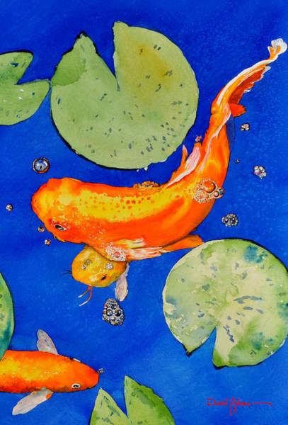 Lilly Pad Painting -  Da201 Koi Fish By Daniel Adams by Daniel Adams