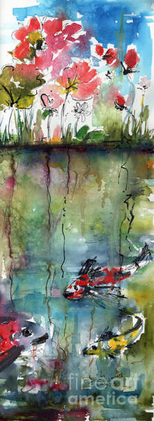 Koi Fish Pond Expressive Watercolor And Ink Art Print