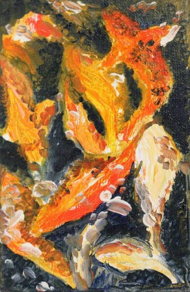 Painting - Koi Frenzy by Richard Jules