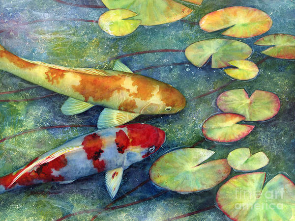 Lilies Painting - Koi Garden by Hailey E Herrera