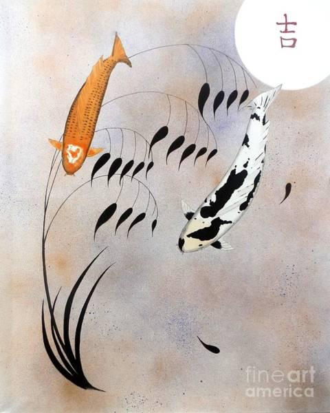 Mono Painting - Koi Hikarimono Utsurimono Chinese Good Luck by Gordon Lavender