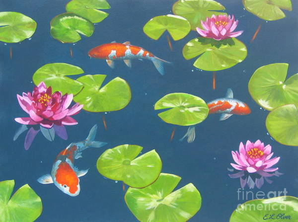 Lilly Pad Painting - Koi Pond by Elisabeth Olver