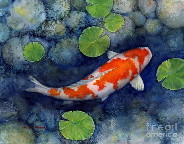 Rock Painting - Koi Pond by Hailey E Herrera