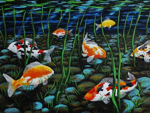 Wall Art - Painting - Koi Pond by Katherine Young-Beck