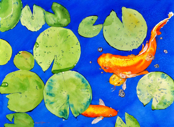 Painting -  Da126 Koi Pond By Daniel Adams by Daniel Adams
