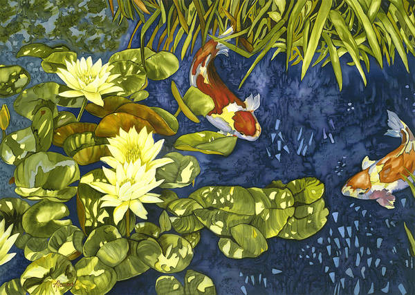 Painting - Koi Rendevous by Artimis Alcyone