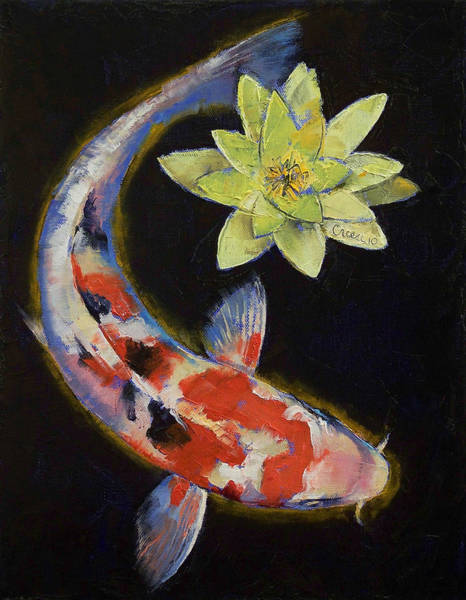 Wall Art - Painting - Koi With Yellow Water Lily by Michael Creese