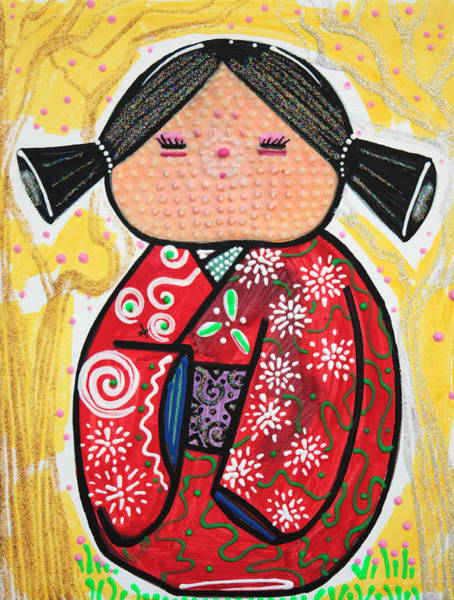 Wall Art - Painting - Kokeshi by Laura Barbosa