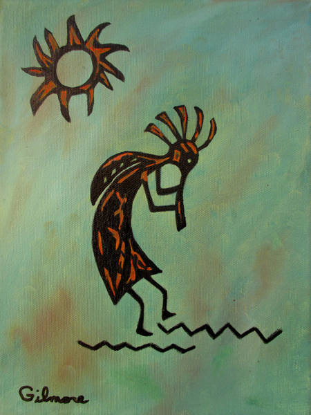 Carving Painting - Kokopelli Flute Player by Roseann Gilmore
