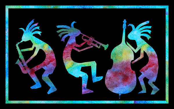 Music Wall Art - Painting - Kokopelli Jazz Trio by Jenny Armitage