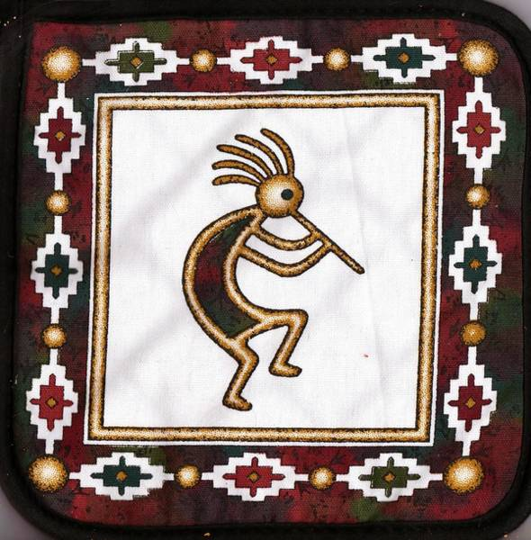 Kokopelli Photograph - Kokopelli Potholder by Anne-Elizabeth Whiteway