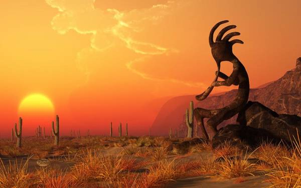 Digital Art - Kokopelli Sunset by Daniel Eskridge