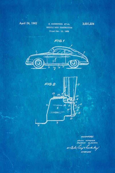 Fitter Photograph - Komenda Porsche Body Construction Patent Art 1962 Blueprint by Ian Monk