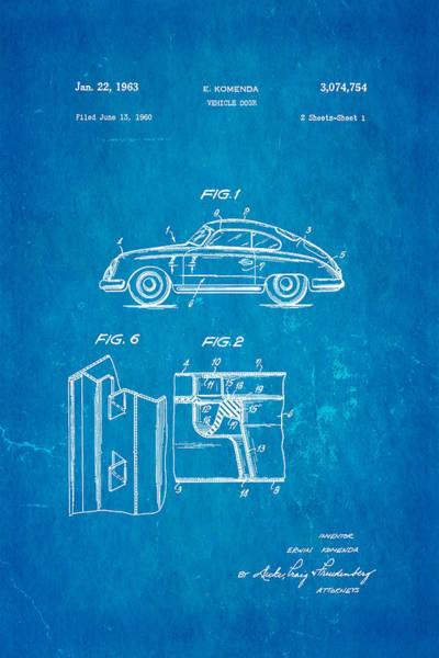 Wall Art - Photograph - Komenda Porsche Vehicle Door Design Patent Art 1963 Blueprint by Ian Monk