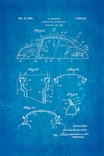 Wall Art - Photograph - Komenda Vw Beetle Body Design Patent Art 1945 Blueprint by Ian Monk