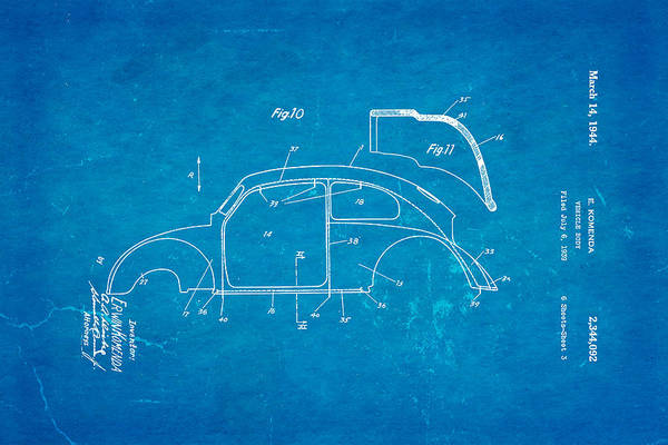 Wall Art - Photograph - Komenda Vw Beetle Body Design Patent Art 2 1944 Blueprint by Ian Monk