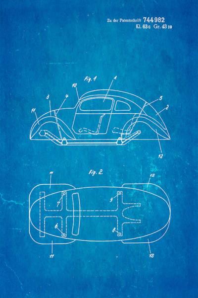Official Photograph - Komenda Vw Beetle Official German Design Patent Art Blueprint by Ian Monk