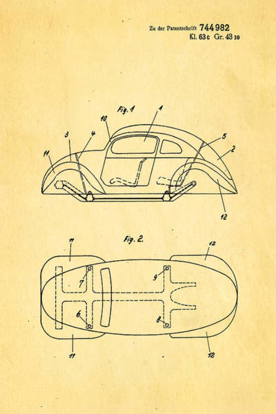 Official Photograph - Komenda Vw Beetle Official German Design Patent Art by Ian Monk