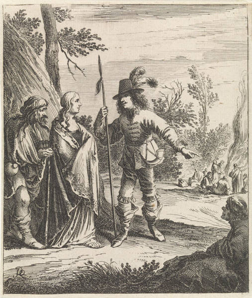 Spanish People Drawing - Konstance In Conversation With Don John, Pieter Nolpe by Pieter Nolpe