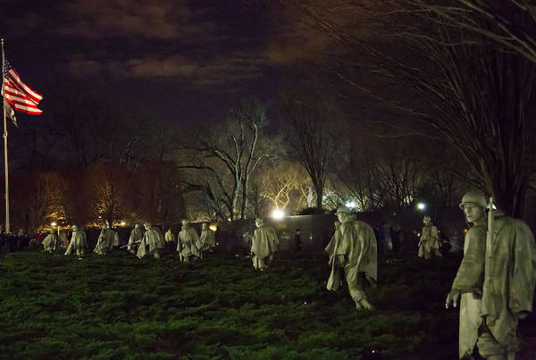 Fourth Of July Photograph - Korean War Memorial At Night by Natural Focal Point Photography