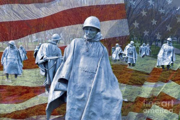 Wall Art - Photograph - Korean War Veterans Memorial Bronze Sculpture American Flag by David Zanzinger