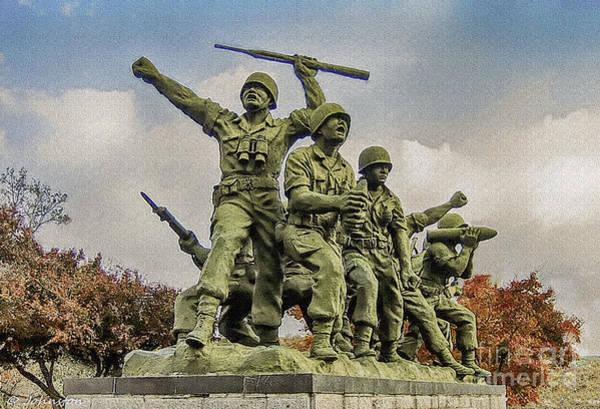 Painting - Korean War Veterans Memorial South Korea by Bob and Nadine Johnston