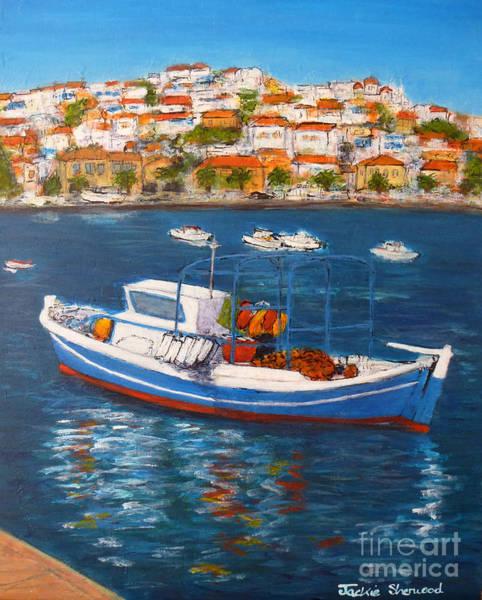 Peloponnese Painting - Koroni Harbour Greece by Jackie Sherwood