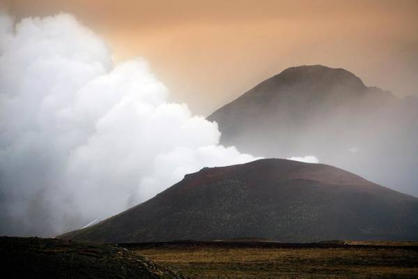 Active Volcano Photograph - Krafla Volcano Crater by Steve Allen/science Photo Library