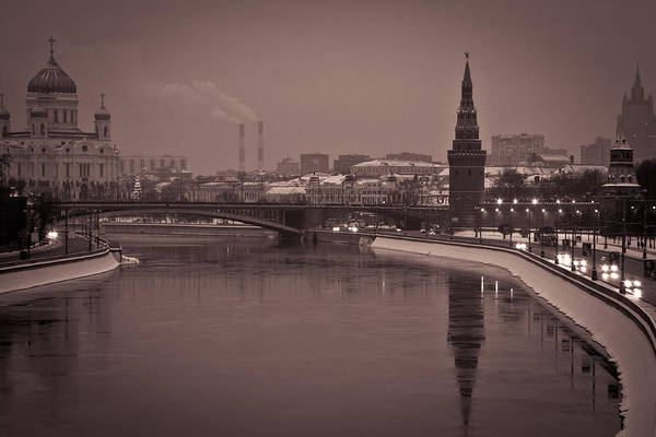 Cathedral Of Christ The Savior Photograph - Kremlin Embankment by Maxim Moysyuk