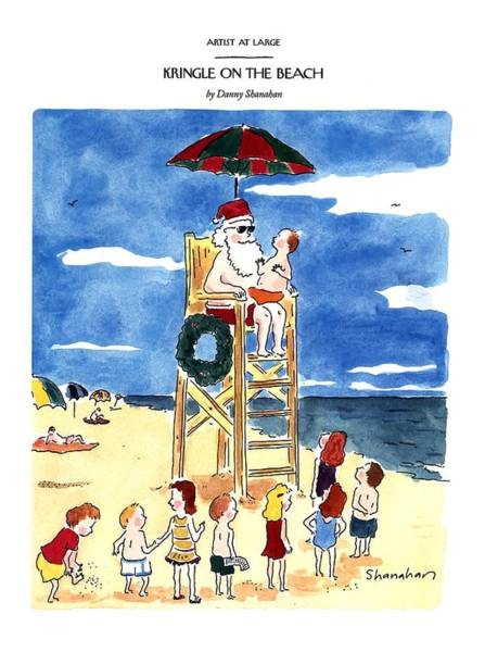Christmas Drawing - Kringle On The Beach by Danny Shanahan