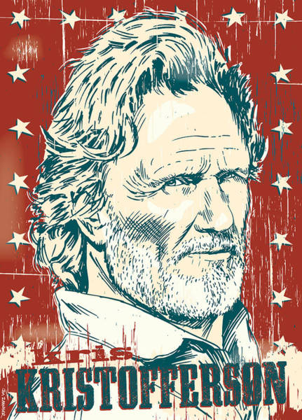 Nashville Wall Art - Digital Art - Kris Kristofferson Pop Art by Jim Zahniser