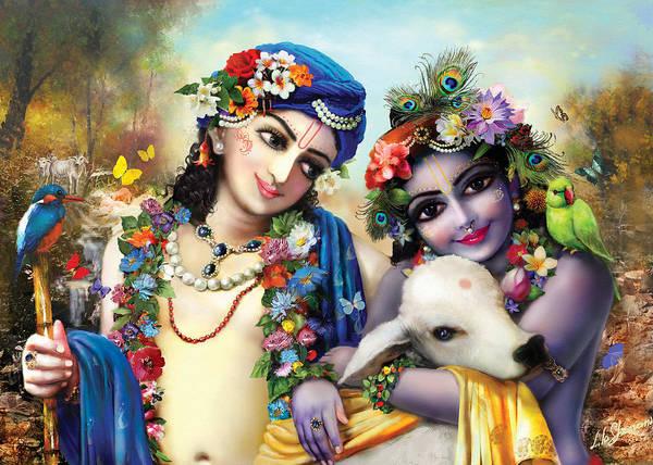 Wall Art - Painting - krishna-Balarama by Lila Shravani