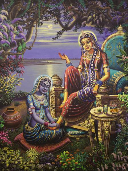 Shree Wall Art - Painting - Krishna Disguised As Gopi by Vrindavan Das