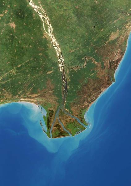 River Delta Photograph - Krishna River Delta by Planetobserver/science Photo Library