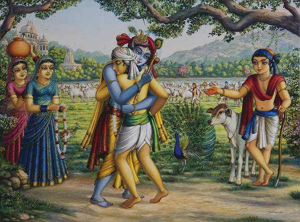 Wall Art - Painting - Krishna With His Dear Friend  by Vrindavan Das