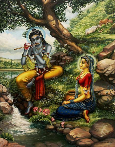 Shree Wall Art - Painting - Krishna With Radha by Vrindavan Das
