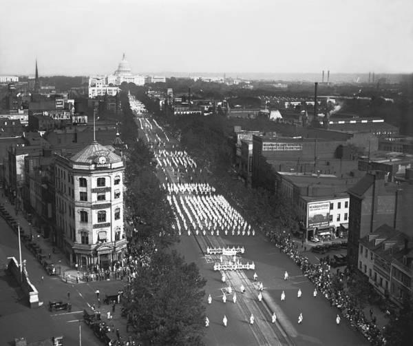 Capitol Building Photograph - Ku Klux Klan Parade by Harris & Ewing