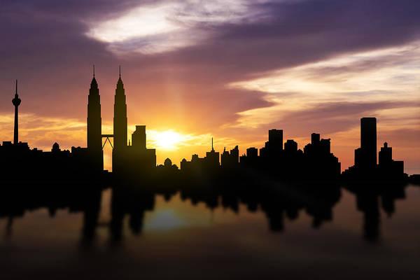 Twin Cities Photograph - Kuala Lumpur Sunset Skyline  by Aged Pixel